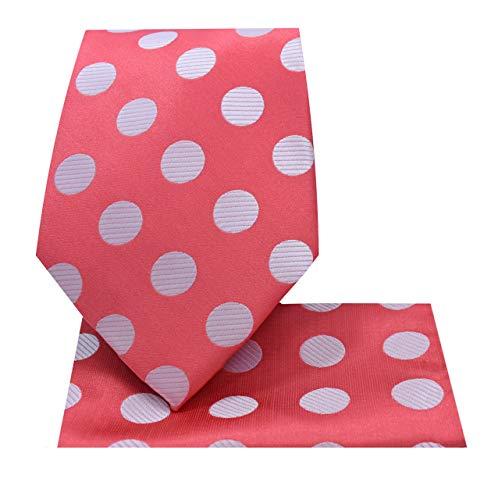 (Polka Dot Necktie Set #59-C-White/Coral)