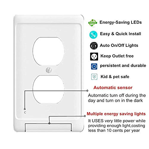 Guidelight Outlet Wall Plate With White Led Night Lights