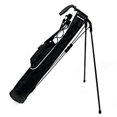Ideal for a day at the driving range, or a few holes at the executive course. Two compartment top, Ultra lightweight construction, One accessory pocket, Durable carry handle, Detachable shoulder strap, Adjustable elastic lanyard, Strong stand...