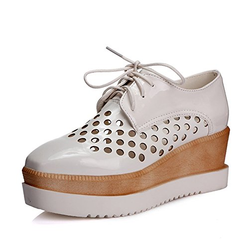 Fashion Maybest Heel Out White Wedge up Hollow Oxfords Mid Lace Womens Shoes RwrnqC8wX