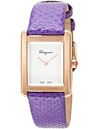 Stainless Steel Analog Quartz Watch with Leather Strap, Purple, 15.4 (Model: 7630030546341)