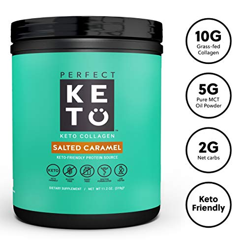 Perfect Keto Collagen Peptides Protein Powder with MCT Oil - Grassfed, GF, Multi Supplement, Best for Ketogenic Diets, Use in Coffee, Shakes for Women & Men - Salted Caramel