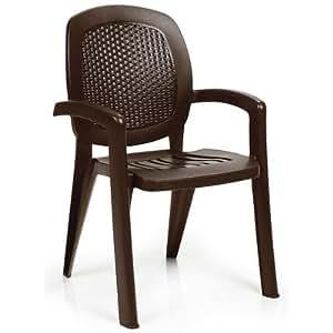 Creta (brazo sillas de jardín apilables (Set de 4), café