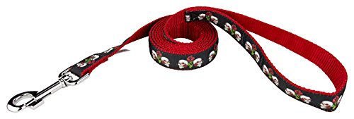 Country Brook Design | 1 Inch Skull & Roses on Red Ribbon Dog Leash - 4 Foot]()