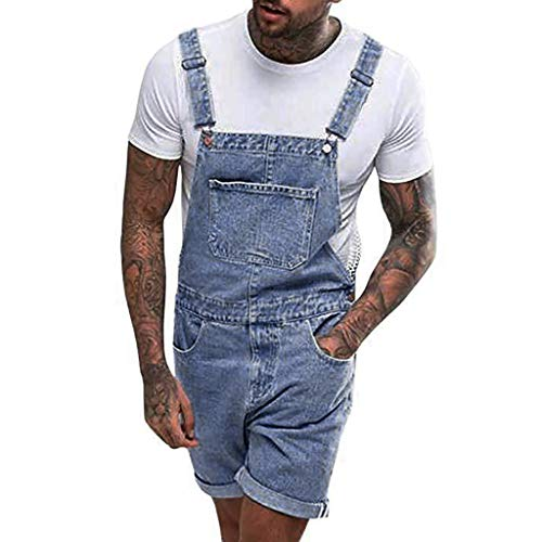 baskuwish Mens Denim Bib Overall Shorts Above Knee Length Rompers Walk Dungaree Jumpsuit Relaxed Fit