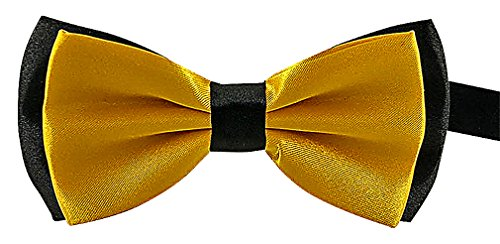 Celino Men Casual Stylish 2 Color Black Edges Polyester Butterfly Bow Ties, GoldYellow One Size (Gold Sparkle Bow Tie)