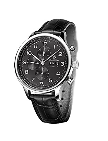 Men's Chronograph Synthetic Sapphire Waterproof Day Date Leather Band Automatic Mechanical Watch - Chronograph Synthetic Sapphire