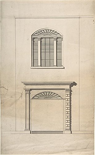 Design for a Fireplace and Window Poster Print by Anonymous British 18th century (18 x 24) (18th Century Fireplaces)