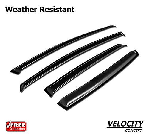 (Velocity Racing Sun/Rain Guard Smoke Vent Shade Deflector Window Visors 12-17 Ford Focus 4D/4Dr)