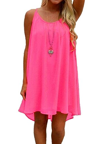 Preferhouse Women's Beach Cover Up Casual Sun Dress Maxi Tanks (Hot Pink,m) ()