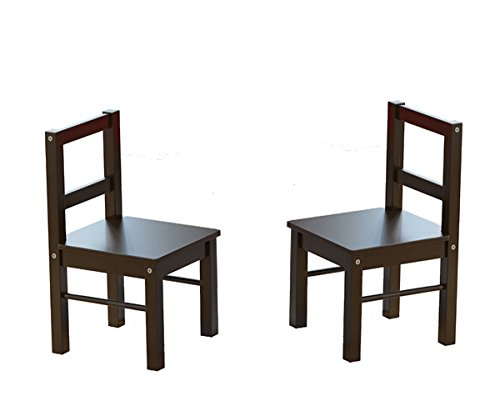 UTEX Child's Wooden Chair Pair for Play or Activity, Set of 2, Espresso by UTEX (Image #1)