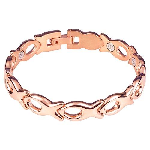 - Divoti Christian Fish PVD Rose Gold 316L Magnetic Bracelet for Women-7.0