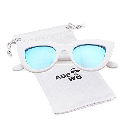 Femmes Fille pour Cat Eye Sexy ADEWU Vintage soleil Trendy Lentille Cadre Blanc Retro Lunettes de Bleu AwPCCxqv