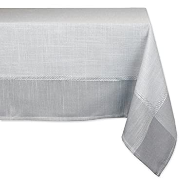DII 100% Polyester, Machine Washable, Tonal Bordered Fabric Tablecloth, 60 x 120 , Gray, Seats 10 to 12 People