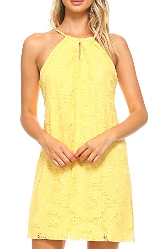 Teeze Me Women's Halter Boho Crochet Lace Shift Spring and Summer Dress Yellow