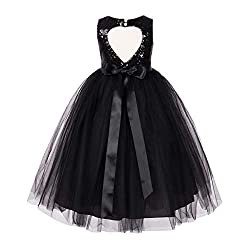Heart Cut Sequin Flower Girl Dress