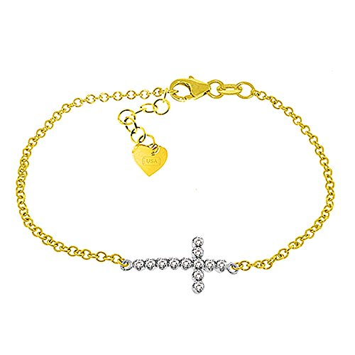Galaxy Gold 14k Solid Yellow Gold Cross Design 6.5-7.5 inch Bracelet with 0.18 Carat Natural Diamond
