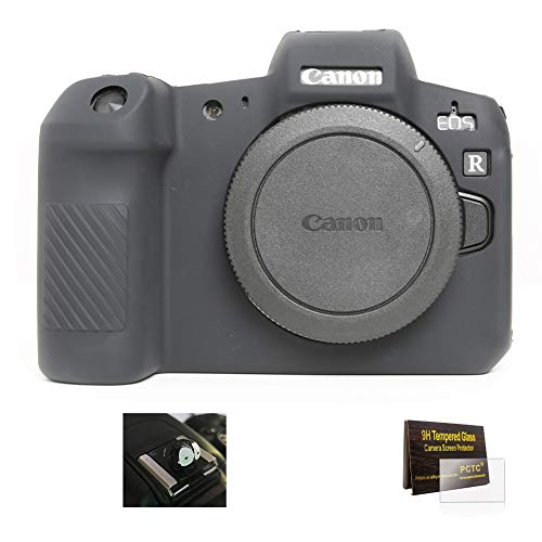 Silicone Camera Case Protective Cover Skin Rubber Housing for Canon EOS R Protect from Scratches Bumps Scuffs Secure Grip Controls Accesible Camera with Cute Hot Shoe Screen Protector