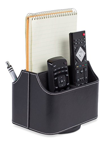 (Internet's Best PU Leather Revolving Remote Controller Holder | Desk & Coffee Table Storage for Mail, Tablet, Phone & Remote Controllers | Black )