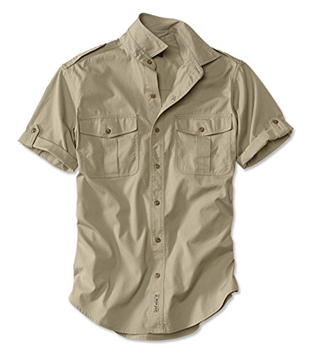 Orvis Men's Short-Sleeved Bush Shirt, Light Khaki, X Large