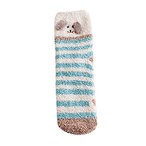 URIBAKE Women Causal Stripe Soft Socks Winter Fleece Crochet Thermal Leg Warmers