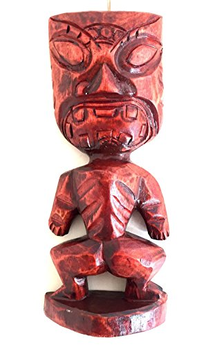 African Mask Tiki God Of Protection & Blessings Wood Carved Statue - OMA BRAND (Tiki Lucky Mask)
