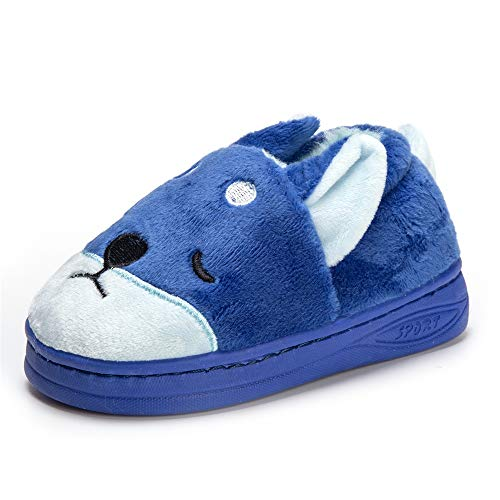 Doggy Toddler Little Kids Plush Slippers Boys Girls Winter Warm Indoor Bedroom Shoes with Fur Blue