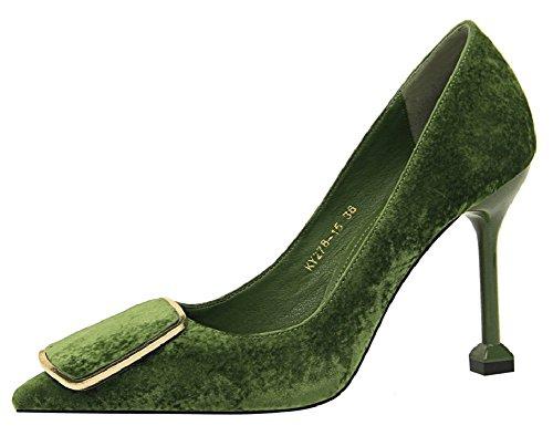 Aisun Da Donna Taglio Basso A Punta Attillata Da Donna Elegante Stiletto Alto Tacco A Spillo Da Lavoro Slip On Pumps Shoes Oliva