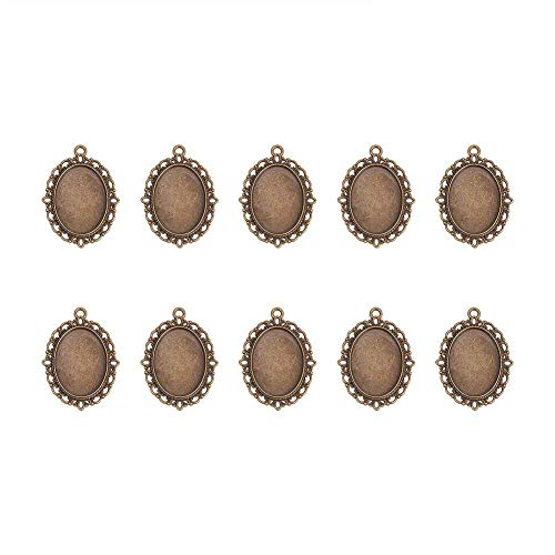 Pandahall 10pcs Antique Bronze Oval Zinc Alloy