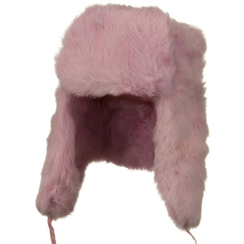 Rabbit Fur Trooper Hat - Pink L