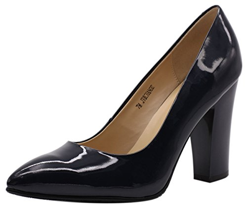Leather Navy Heels High (JARO VEGA Women's Chunky Heel Closed Pointed Toe Patent Leather Dress Pumps Shoes Navy Blue Size 8)