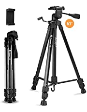 """Travel Camera Phone Tripod, Fotopro 61"""" 155cm Compact Portable Tripods with Smartphone Mount and Carrying Bag, Video Camera Stand Tripod for Entry-Level Digital Cameras/DSLR"""