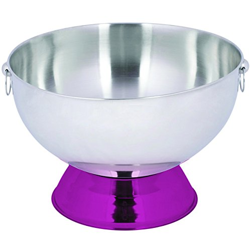 Pink Color Punch Bowl Stainless Steel with Decorative Handle Rings By Table Top King by TableTop King