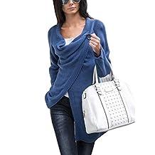 Hiwil Women Plus Size Asymmetric Hem Split Wrap Casual Cardigan Knitted Sweater