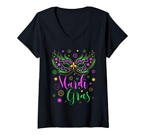 Womens Mardi Gras Feathered Mask for Women V-Neck T-Shirt