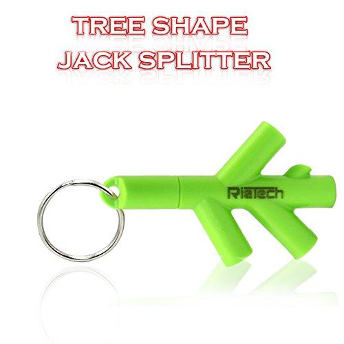 RiaTech™ Tree Shape 3.5mm 4 Port Headphone / Earphone Splitter for Mobile, Smartphones & Laptops (Light Green)