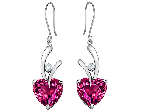 Star K 8mm Heart-Shape Created Pink Sapphire Hanging Hook Love Earrings