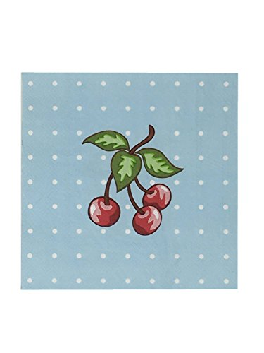 One Hundred 80 Degrees Light Blue White Polka Dot with Cherries Paper Lunch and Dinner Napkins, 40 Count ()