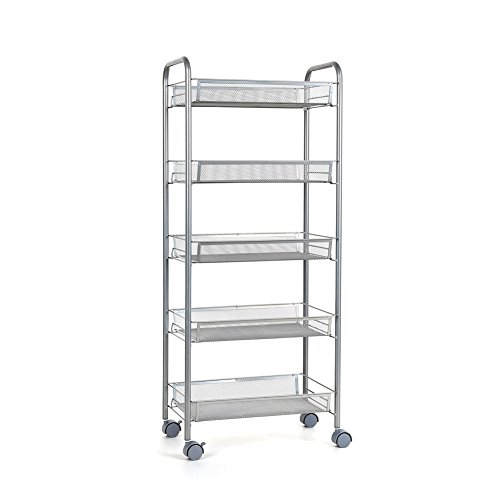 Homfa 5-Tier Mesh Wire Rolling Cart Multifuncti...