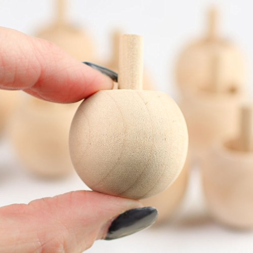 Package of 10 UNFINISHED WOOD SPINNING TOPS from Factory Direct Craft - Natural Toys made in USA by Factory Direct Craft (Image #1)