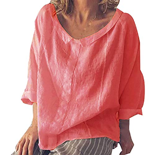 Price comparison product image Womens Short Sleeve Fzitimx Summer New Shirts Large Size Fashion Plus Size Solid Casual Linen Turtleneck Blouse T-Shirt Tunic Tops