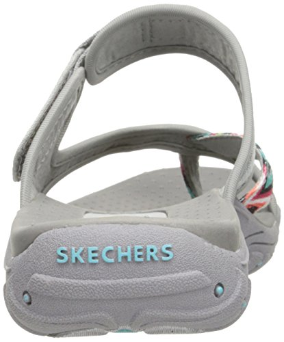Skechers Womens Reggae Zig Swag Flip Flop, Grey/Multi, 5 M US