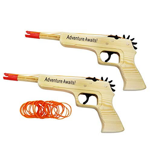 Adventure Awaits! - 2-Pack Rubber Band Gun - Quality Wood & Handmade - Easy Load - 20 Rubber Bands per Set