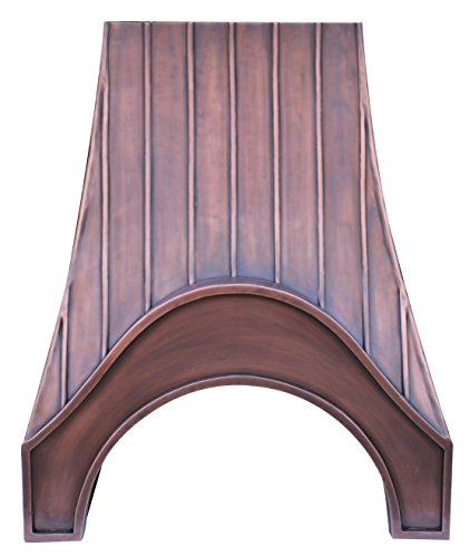 Handcrafted Copper Kitchen Stove Hood with Range Hood Insert Antique Copper Patina Decorative Trims Sinda H19S