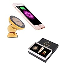 GRANDO 360° Rotation Magnetic Phone Car Mount Holder Bracket QI Wireless Charging Receiver Pad for iPhone 6 Plus /6S Plus & Fast Dual USB life hammer Car Charger Gold