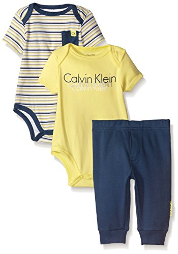 Calvin Klein Baby-Boys Bodysuit and Pants, Yellow/Navy, 3-6 Months