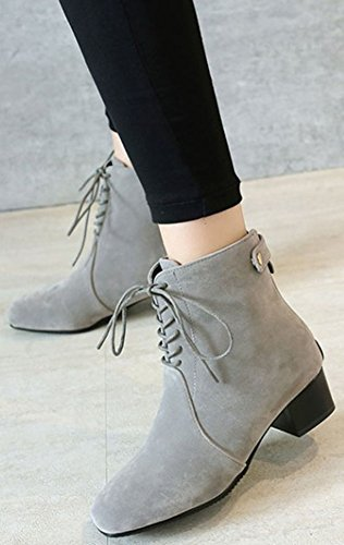 Easemax Women's Sexy Faux Suede Lace Up Square Toe Chunky Mid Heel Short Ankle High Boots Grey swbOMsBIz