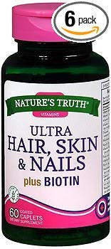 Nature's Truth Ultra Hair, Skin & Nails plus Biotin Coated Caplets - 60 ct, Pack of 6