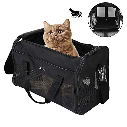 OUTAD Pet Carrier Soft-Sided Large Pets Travel Carrier for Dogs Cats Airline Approved Car Hiking Outdoor Use Pet Carrying Bag for <22lbs Puppies Kittens
