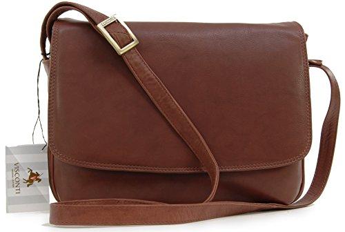 VISCONTI - CLAUDIA 03190 - Bolso de mano con solapa / Bolso bandolera organizador - Cuero marrón
